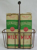 Vintage Milk Carton Wire Carrier and Two Levengood's Pint Cartons 1950s