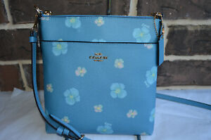 NWT $150 Coach Kitt Crossbody Pansy PACIFIC BLUE Floral Small 89520