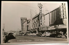 RENO NEVADA, Photo Post Card RETRO STREET SCENE 1940s, GAMILING CLUBS, AUTOS