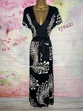 Evans Excelente Elástico Largo Completo Vestido Maxi Floral Negro/Blanco Talla 22 - 24