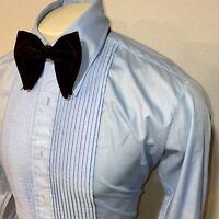 Vtg 70s Tuxedo Shirt AFTER SIX Baby Blue Ruffles TUX Dress Prom Mens 14.5 31 32