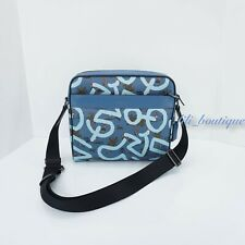 NWT Coach F67371 Men's Charles Camera Bag Keith Haring PVC Leather Sky Blue $398