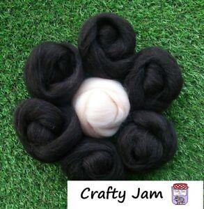 Needle Felting Natural Black & Flesh Pink Skin Wool Rovings, 3D Animal Projects