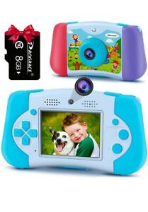 PROGRACE Kids Camera Handheld Game Console Two in One Digital Camera Blue 8G