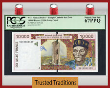 TT PK 114Ad 1996 WEST AFRICAN STATES 10000 FRANCS PCGS 67 PPQ SUPERB TOP POP!