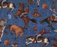 Wranglers Ranch cowboys roping bucking broncos horses South Seas western fabric