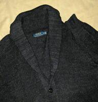 Polo Ralph Lauren Blue Thick Knit cotton Shawl Lapel cardigan sweater Men's L