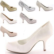 Platform Low Mid Kitten Heels Bridal Court Bridesmaid Shoes Pumps Size New