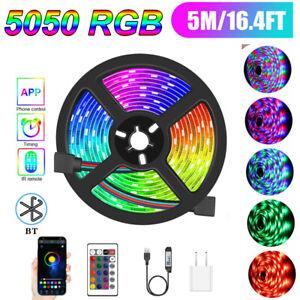 16.4ft SMD 5050 RGB LED Strip Lights Bluetooth +24Key USB Supply Bar Light Kit