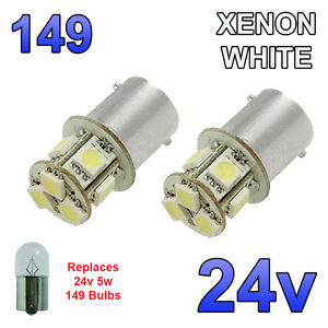 2 x White 24v LED BA15s 149 R5W 8 SMD Number Plate Interior Bulbs HGV Truck