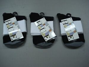 NWT Women's Hue Cotton Bodysock Socks One Size Black w/ White/Grey 3 Pair #145J