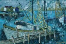 Mid Century Expressionist Oil on Wood Panel Of Docked Shrimp Boats by Mary Gaede