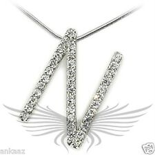 Brilliant Grade AAA Cubic Zircon CZ Rhodium Plated Pendant Initial (N) 21625
