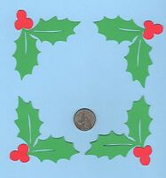 "Holly Photo Corner Die Cuts - Holly Page Corners - Christmas Photo Corners"" 3'x3"
