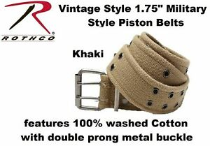 """Double Prong Canvas Belt, Vintage Army Pistol Grommet Two Hole 1.75"""" ROTHCO 4171"""