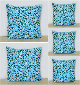 New 5 Pcs Set Of Indian Hand Block Pillow Cover Decorative Cushion Cover Throw