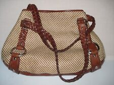 BANANA REPUBLIC WOVEN STRAW LRG TOTE SHOULDER BAG BROWN LEATHER BRAIDED STRAPS