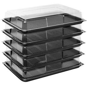 5 x Black Large Rectangular Sandwich Platters + Clear Lids Cakes Buffets Party