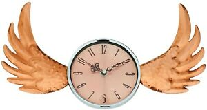 New Copper Winged Wall Clock with Glass Cover 39cm Unique Designer Home Hotel