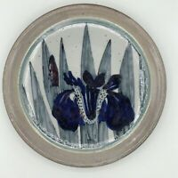 """Highland Stoneware Scotland Hand Painted 10.25"""" Floral Plate Blue & Gray"""
