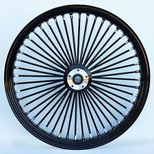 "Black/Black 48 King Spoke 21"" x 2.15"" Single Disc Front Wheel / Harley & Custom"