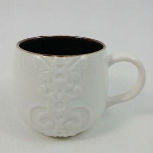 Starbucks Coffee Mug Casi Cielo Series 12 oz Brown & White Embossed Floral 2013
