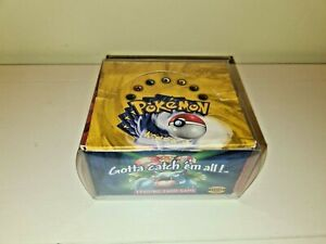 Pokémon Base Set Booster Box EMPTY with acrylic display case - Blue Wing - WOTC
