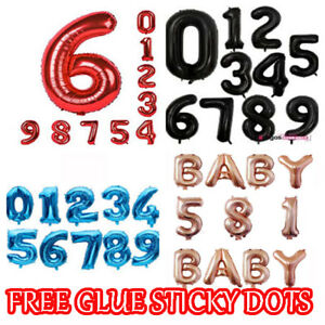 """32"""" LETTER NUMBER Foil Balloons Air Baloons Large Happy Birthday Party Ballons"""
