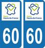 Département 60 -2 autocollants style immatriculation AUTO PLAQUE HAUTS DE FRANCE