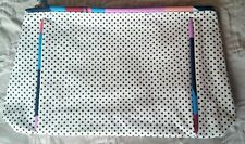 New Estee Lauder Makeup Case White with Black Dots Fabric Medium Size