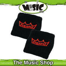 Pair of Remo Sweat Bands - Black with Orange Remo Logo - WR-14WB-00 - Sweatbands