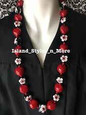 Hawaii Wedding SOLID Red Hibiscus WHITE Kukui Nut Lei Graduation Luau Necklace