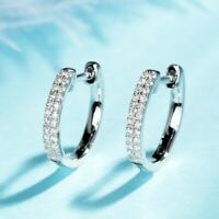 Elegant 925 Silver Hoop Earring for Women White Sapphire Jewelry A Pair/set