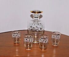 Belgian Art Glass - Glass Tiered Decanter and Four Matching Glasses