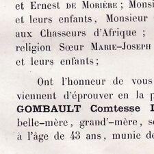 Marie Alexandrine Gombault Louis Aymar De Tudert 1867
