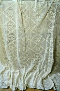 Vintage French pure cotton hand made bed cover, lozenges and flowers