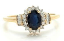 1.30 Carat Natural Blue Sapphire and Diamond in 10K Solid Yellow Gold Women Ring