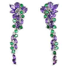 Sterling Silver Natural Purple Amethyst and Green Chrome Diopside Earrings
