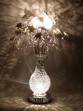 Flor De Plata Alambre Tejida De Metal Lámpara De Mesa Flores Blancas Floral Cuentas Glamour