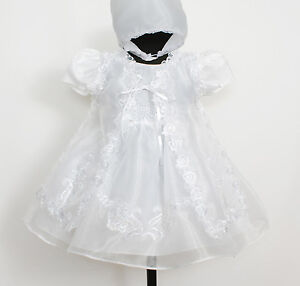 Baby Christening Gown Cape and Bonnet Newborn 0 3 6 9 12 Months