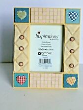 Inspirations by Heirloom Patchwork Buttons Resin Blue Beige Photo Frame 3.5x 5""