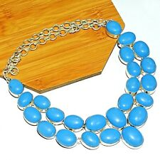 "925 Sterling Silver Overlay Plain Turquoise Necklace Jewelry 20 "" Inch MNE5"