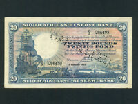 South Africa:P-88b,20 Pounds, 1933 * Sailing Ship * Cancelled * RARE * VF+ *