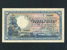South Africa:P-88b,20 Pounds, 1933 * Sailing Ship * Cancelled * RARE * VF+ *