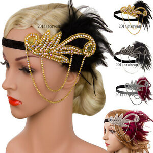 Vintage Headpiece 1920s Headband Flapper Great Gatsby Party Hair Accessories