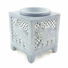 GREY SOAPSTONE  OIL BURNER WITH CARVED ELEPHANT DESIGN