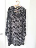GEOFF BADE Australia Size 12 Grey/Black Cowl Neck Long Sleeve Knee Length Dress