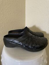 Klogs Monica Black Woven Leather Clogs Mules Slip on Comfort Shoes Size 8