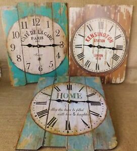 Large Vintage Distressed Brown or Blue Wooden Wall Clock London Paris Home