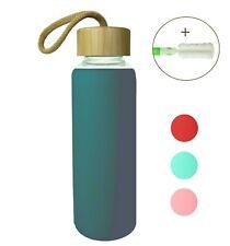 Wenburg Trinkflasche Glasflasche Sportflasche, Bambus Deckel 350 500 ml Silikon